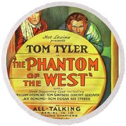 The Phantom Of The West 1931 Round Beach Towel by Mountain Dreams