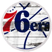 The Philadelphia 76ers 3e       Round Beach Towel by Brian Reaves