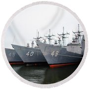 Round Beach Towel featuring the photograph The Philadelphia Navy Yard by Bill Cannon
