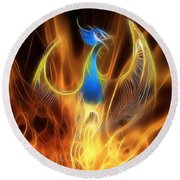 The Phoenix Rises From The Ashes Round Beach Towel