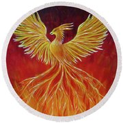 Round Beach Towel featuring the painting The Phoenix by Teresa Wing