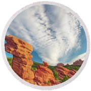 The Photogenic Purlieu Of Our Home, Sweet Hometown  Round Beach Towel