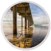 The Pier And Its Shadow Round Beach Towel by Joseph S Giacalone