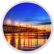 The Pier At Oceanside California Round Beach Towel