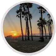 The Pier At Sunset - Square Round Beach Towel