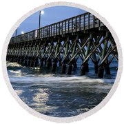 The Pier At The Break Of Dawn Round Beach Towel