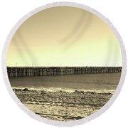 The Pier Round Beach Towel by Mary Ellen Frazee