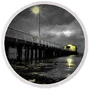 The Pier On The Bay Round Beach Towel
