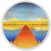 The Pier Round Beach Towel by Thomas Blood