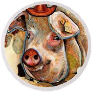 The Pig Round Beach Towel