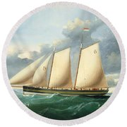 The Pilot Schooner Pioneer Off Point Lynas Round Beach Towel
