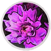 The Pink And Lavender Flowers On The Grey Surface Round Beach Towel