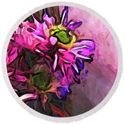 The Pink And Purple Flower By The Pale Pink Wall Round Beach Towel