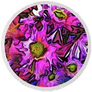 The Pink And Purple Flowers In The Red And Blue Vase Round Beach Towel