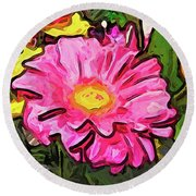 The Pink And Yellow Flowers With The Big Green Leaves Round Beach Towel
