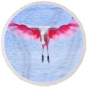 The Pink Angel Round Beach Towel