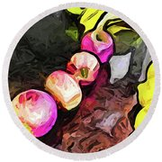 The Pink Apples In A Curve With The Yellow Lemons Round Beach Towel