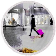 Round Beach Towel featuring the photograph The Pink Bag by LemonArt Photography