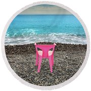 The Pink Chair Round Beach Towel
