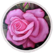 The Pink Dream Rose Round Beach Towel