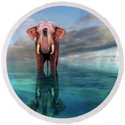 The Pink Elephant Round Beach Towel