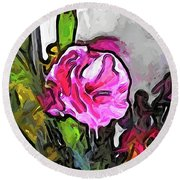 The Pink Flower With The Burgundy Buds Round Beach Towel