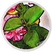 The Pink Flowers Behind The Green Leaves Round Beach Towel