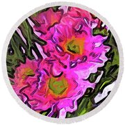 The Pink Flowers In The White Vase Round Beach Towel