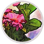 The Pink Flowers On The Left With The Green Leaves Round Beach Towel