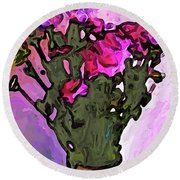 The Pink Flowers With The Long Stems In The Vase Round Beach Towel