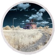 The Pink House In Halespectrum 1 Round Beach Towel