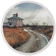 The Pink House Round Beach Towel