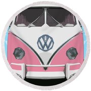 The Pink Love Bus Round Beach Towel