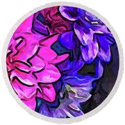 The Pink Petals With The Purple And Blue Flowers Round Beach Towel