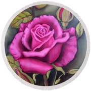 The Pink Rose Round Beach Towel by Inese Poga