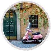 The Pink Vespa Round Beach Towel