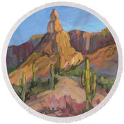 Round Beach Towel featuring the painting The Pinnacle At Goldfield Mountains by Diane McClary