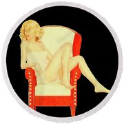 The Pinup By Mary Bassett Round Beach Towel