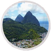 Round Beach Towel featuring the photograph The Pitons, St. Lucia by Kurt Van Wagner