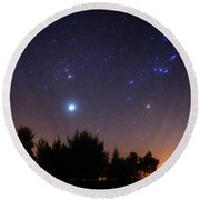 The Pleiades, Taurus And Orion Round Beach Towel