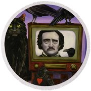 The Poe Show Round Beach Towel by Leah Saulnier The Painting Maniac