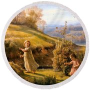 The Poem Of The Soul Spring Anne Francois Louis Janmot 1854. Round Beach Towel