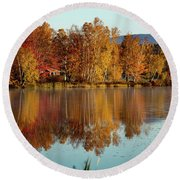 The Point Of Maine Fall Colors Round Beach Towel