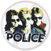 Round Beach Towel featuring the digital art The Police by Gina Dsgn