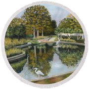 The Pond At Maple Grove Round Beach Towel
