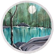 The Pond Round Beach Towel by Pat Purdy