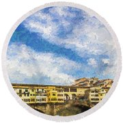 The Ponte Vecchio Bridge Round Beach Towel