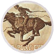 The Pony Express Centennial Stamp Round Beach Towel