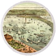 The Port Of New York, Birds Eye View From The Battery, Looking South, Circa 1892 Round Beach Towel