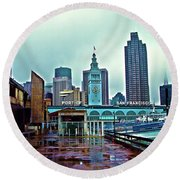 The Port Of San Francisco Round Beach Towel